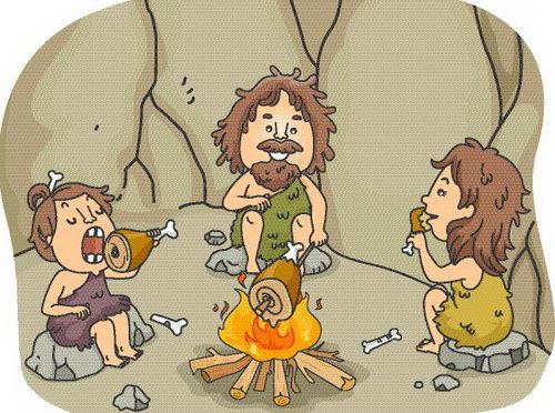 Древний человек за едой